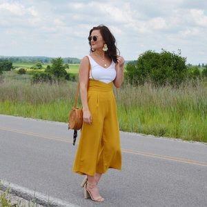 Pants - Mustard suspender trousers